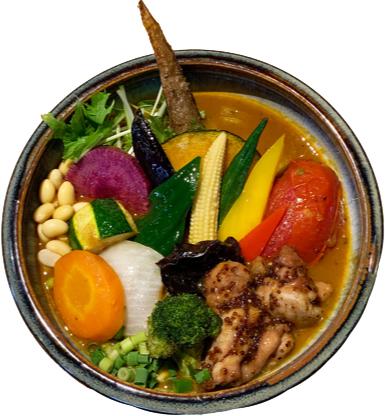 大山鶏のハニーマスタードチキンと野菜のカレー