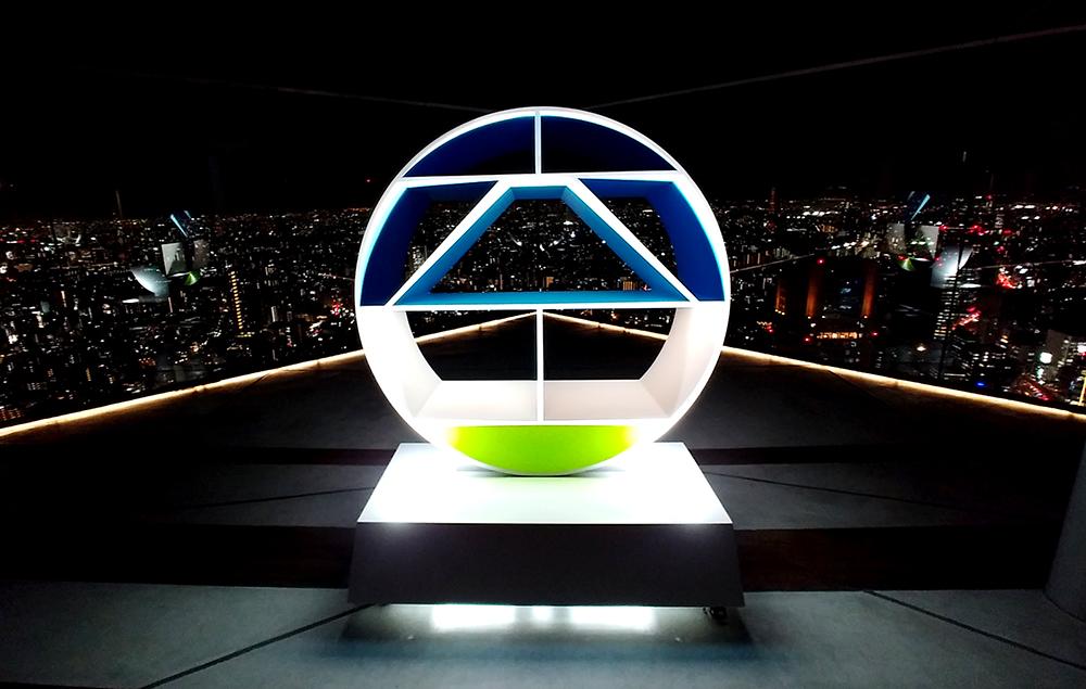 SHIBUYA SKYのロゴのオブジェ