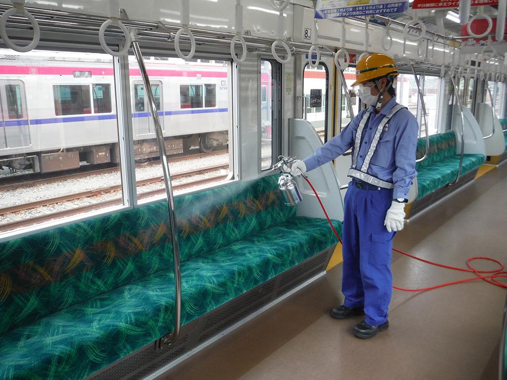 京王井の頭線・京王線の車両内へのコーティング施工(イメージ)