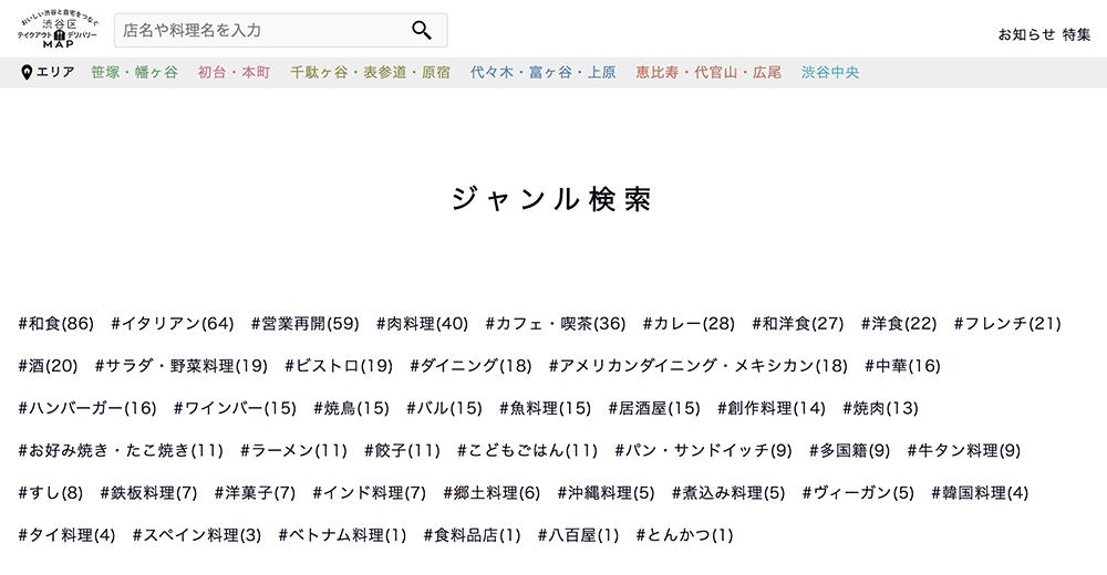 渋谷区テイクアウト・デリバリーMapのジャンル検索画面