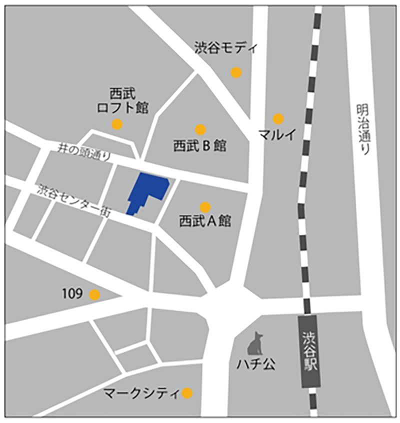 IKEA渋谷が出店する渋谷の高木ビルディングの地図