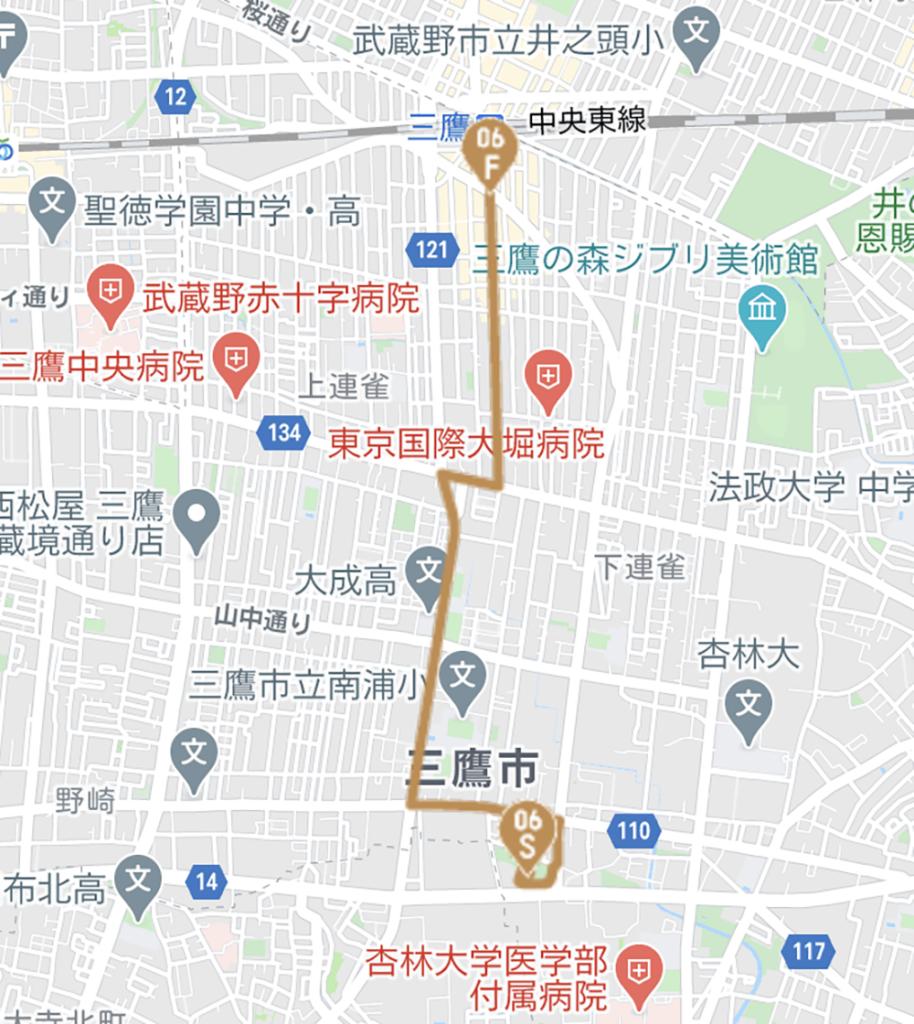 三鷹市の聖火リレールート(東京オリンピック公式HPより)