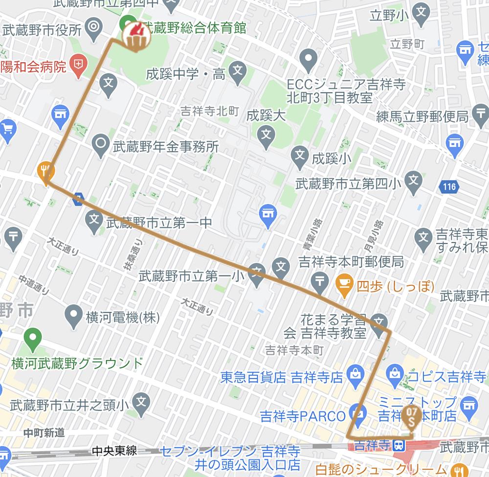 武蔵野市の聖火リレールート(東京オリンピック公式HPより)