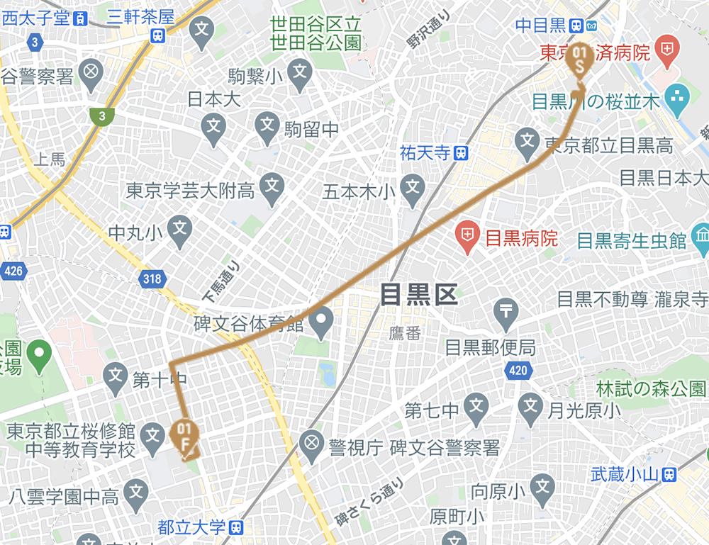 目黒区の聖火リレールート(東京オリンピック公式HPより)
