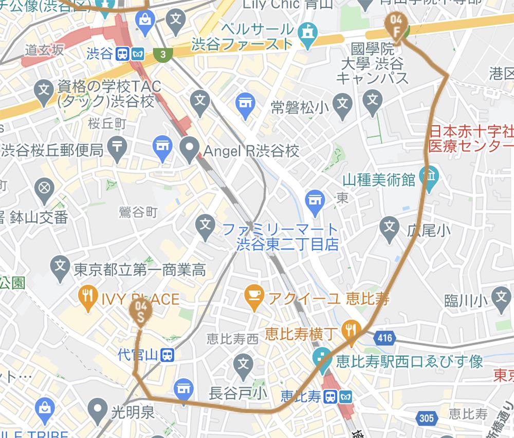 渋谷区の聖火リレールート(東京オリンピック公式HPより)