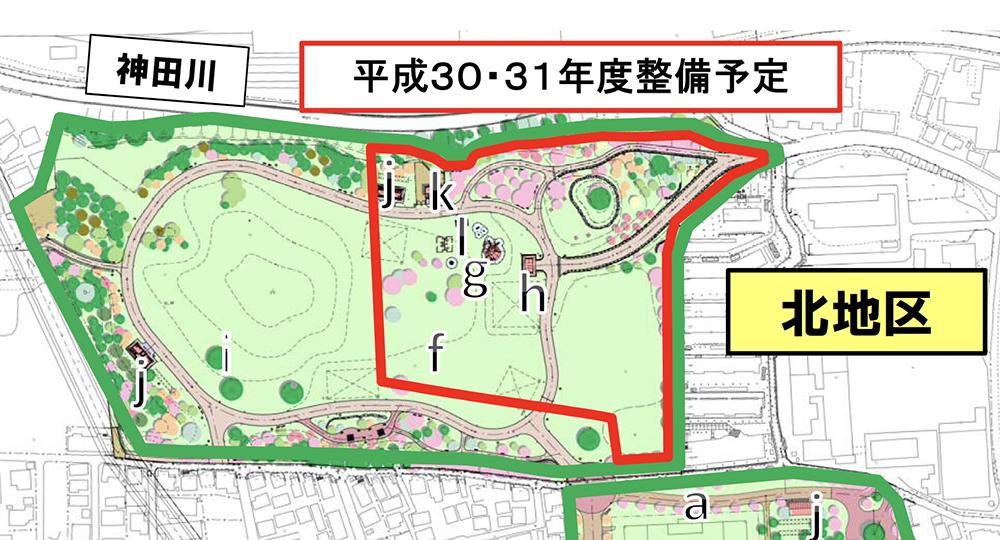 2020年6月に開園した高井戸公園北地区・西側エリアの範囲