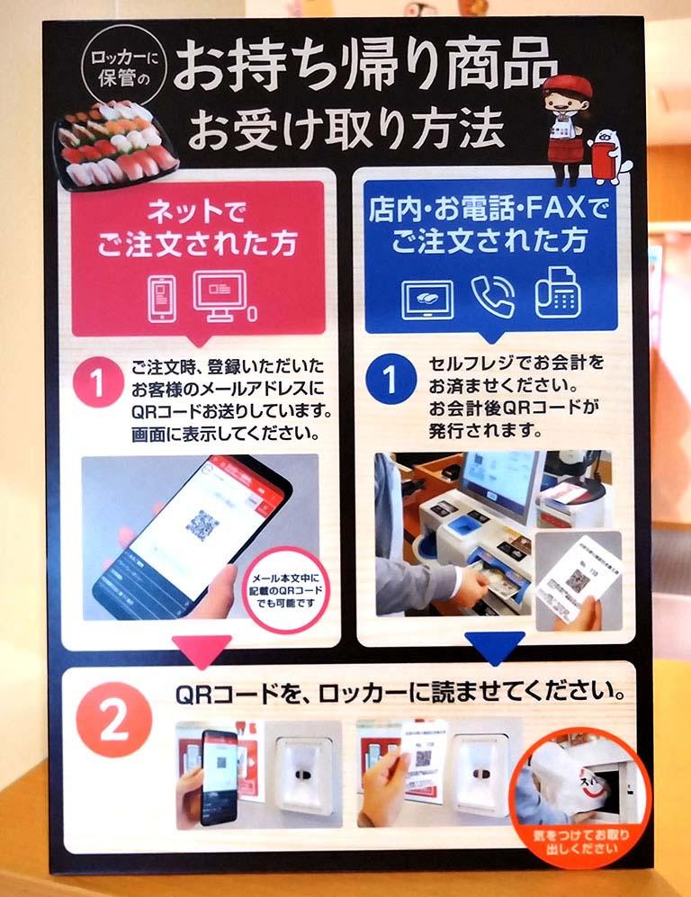「スシロー渋谷駅前店」のお持ち帰りロッカー受け取り方法