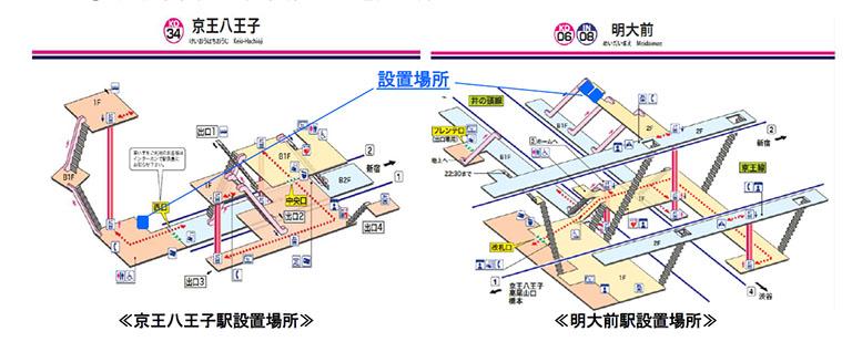 「CocoDesk(ココデスク)」の明大前駅と京王八王子駅の設置場所のマップ